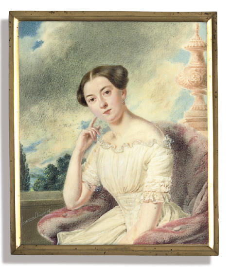 Princess Golitsyna, in white dress with frilled collar and sleeves, smocked bodice, seated in red velvet chair leaning on her right elbow, her dark hair upswept; landscape and sky background