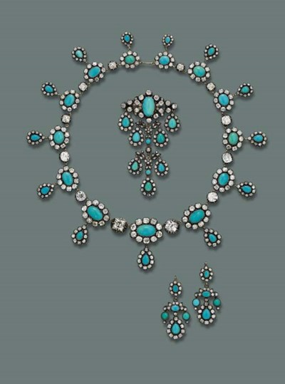 A FINE ANTIQUE TURQUOISE AND D