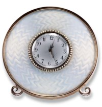 A BELLE EPOQUE ENAMEL AND PEARL TABLE CLOCK, BY FABERGE