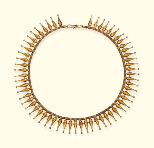 A GOLD REVIVALIST FRINGE NECKLACE, BY JOHN BROGDEN