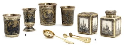 A set of parcel-gilt and niell