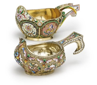 Two silver-gilt and cloisonné