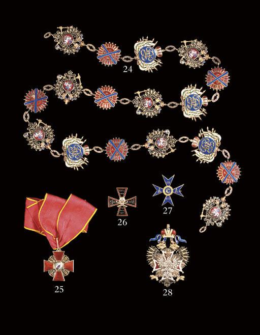 A gold and enamel sash badge o