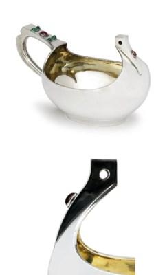A large jewelled silver kovsh