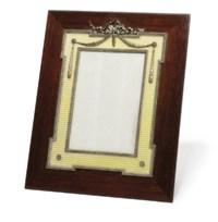A silver-mounted guilloché enamel wooden photograph frame