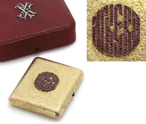 A jewelled and gold cigarette-case