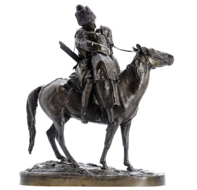 A bronze group of the Cossack'