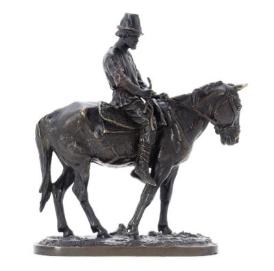 A bronze figure of a peasant o
