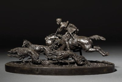 A bronze hunting group