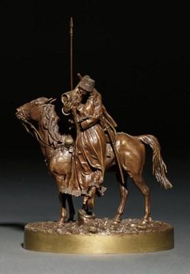 A bronze figure of Cossack far