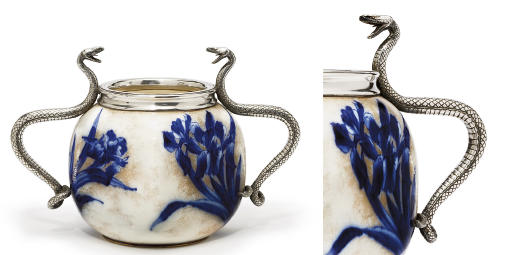 A silver-mounted ceramic vase
