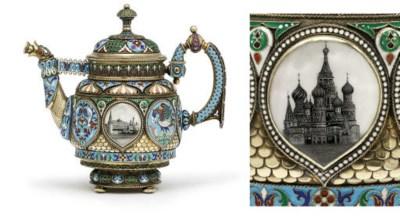 A silver-gilt and enamel tea-p