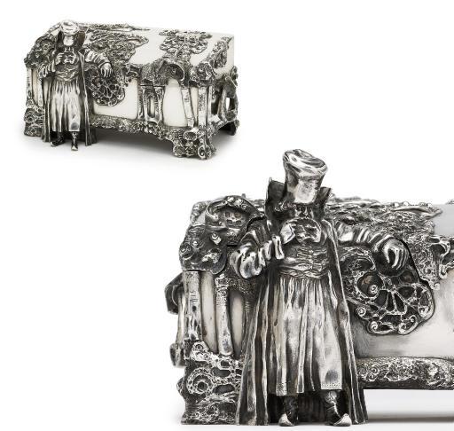 A large silver casket
