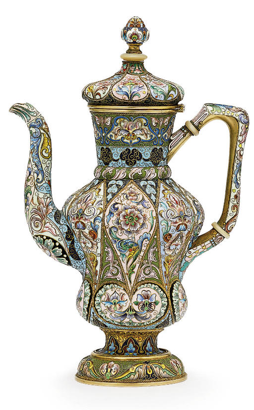 A silver-gilt and cloisonné enamel coffee-pot