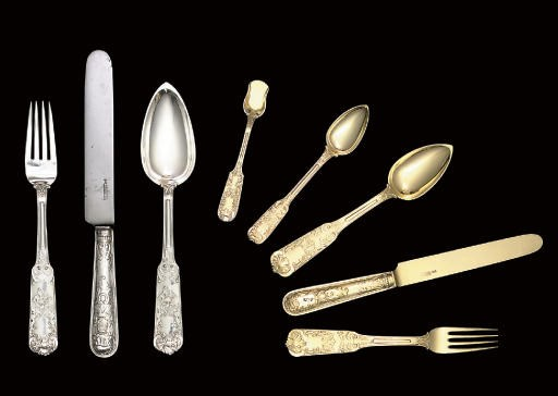 A silver and silver-gilt table
