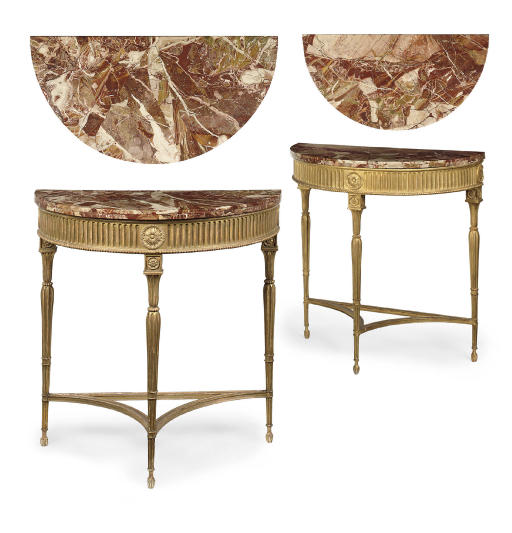 A MATCHED PAIR OF GILTWOOD DEMI-LUNE SIDE TABLES