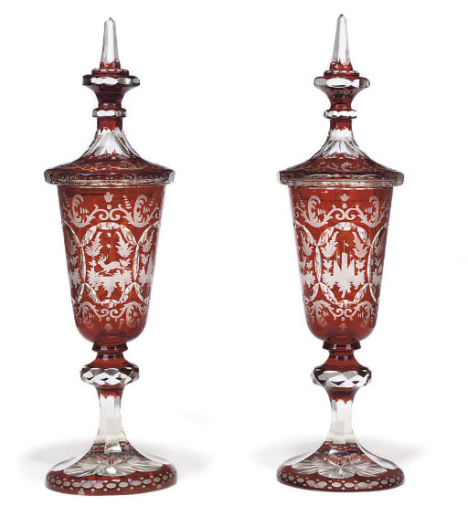 A PAIR OF CONTINENTAL RUBY FLA
