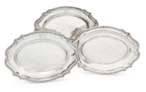 A SET OF THREE GEORGE II SILVER MEAT-DISHES