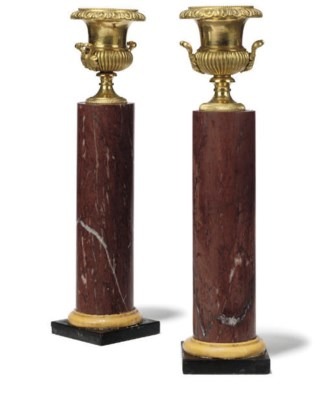 A PAIR OF ORMOLU AND MARBLE OR