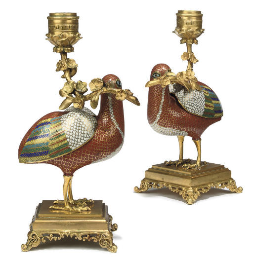 A PAIR OF CHINESE ORMOLU-MOUNT