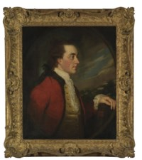 Portrait of Admiral Charles Hamilton, half-length, in a red coat with fur trim, holding a book by Milton, a landscape beyond, in a feigned oval
