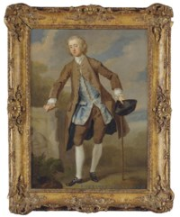 Portrait of Gustavus Hamilton, 2nd Viscount Boyne (1710-1746), small full-length, in a brown coat and breeches with a blue silk waistcoat, a tricorn hat and a walking stick in his left hand, in a landscape
