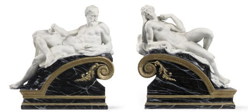 A PAIR OF PARCEL-GILT, PAINTED