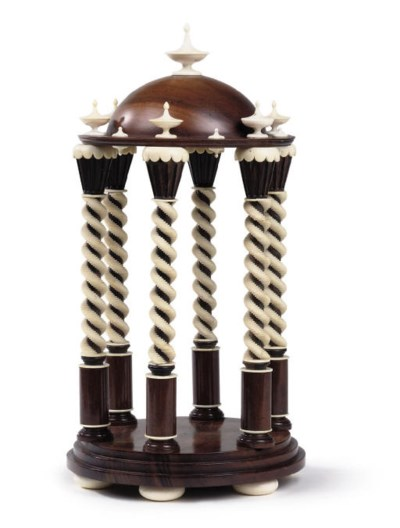 A VICTORIAN HARDWOOD AND IVORY