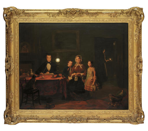 A family in a lamp-lit interior