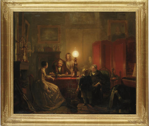 A family gathered around a lamplit table