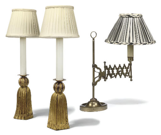 A PAIR OF GILT-METAL TABLE LAM