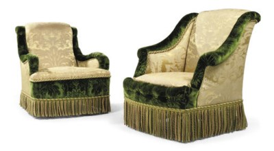 TWO GREEN CUT-VELVET AND YELLO
