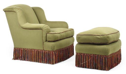 A GREEN UPHOLSTERED EASY ARMCH
