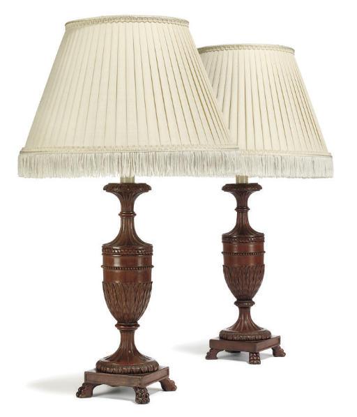 A PAIR OF MAHOGANY TABLE LAMPS