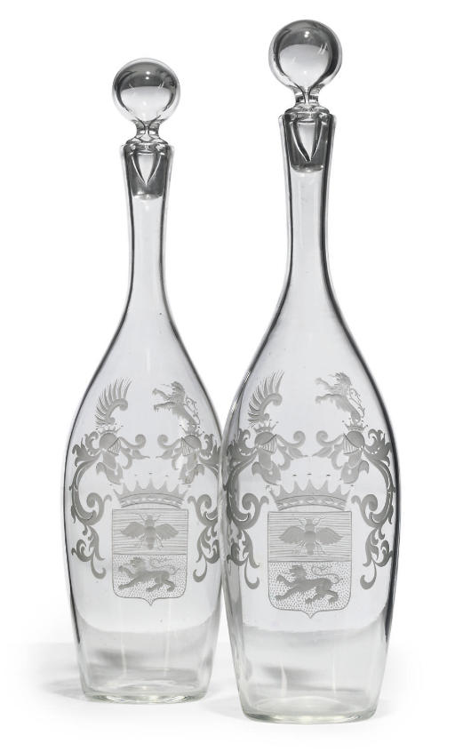 A PAIR OF CLEAR GLASS ARMORIAL