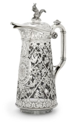A FRENCH SILVER AND GLASS CLAR