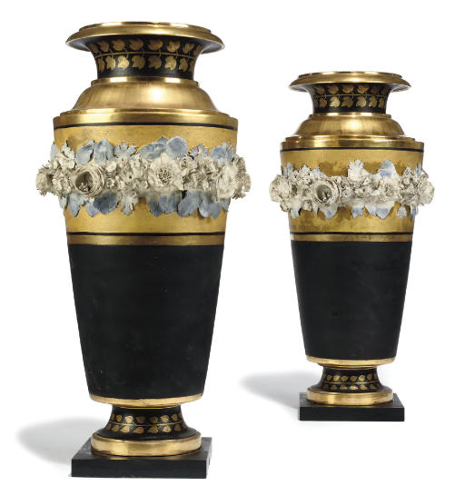 A PAIR OF PARIS (DAGOTY) MATT-BLACK AND GILT VASES