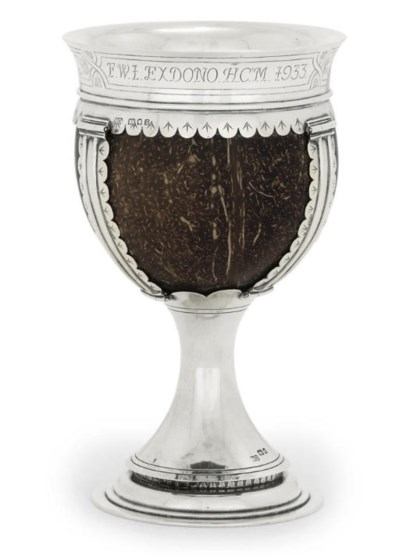 A GEORGE V SILVER-MOUNTED COCO