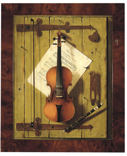 Trompe l'oeil with a violin and bow, a piccolo, a sheet of music and other objects pinned to a wooden door