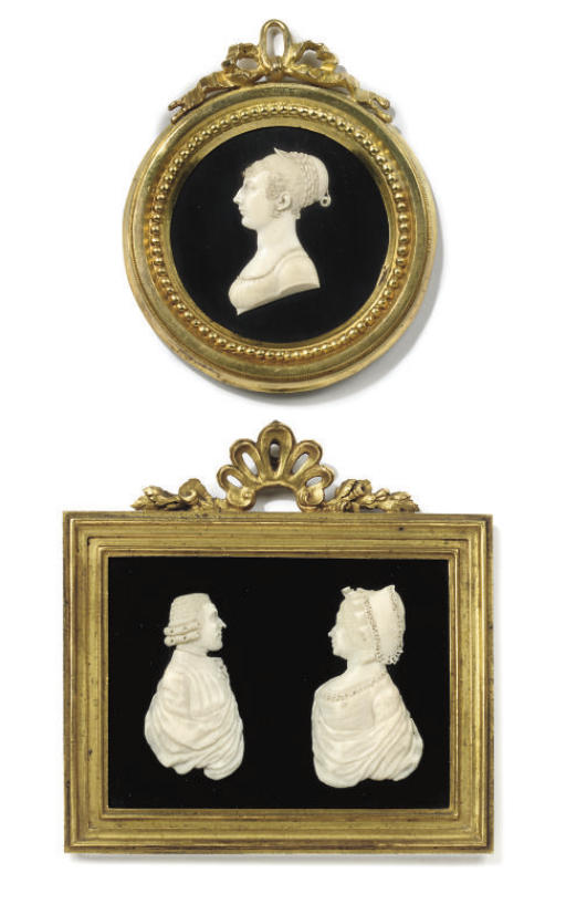 A FRENCH IVORY PORTRAIT RELIEF