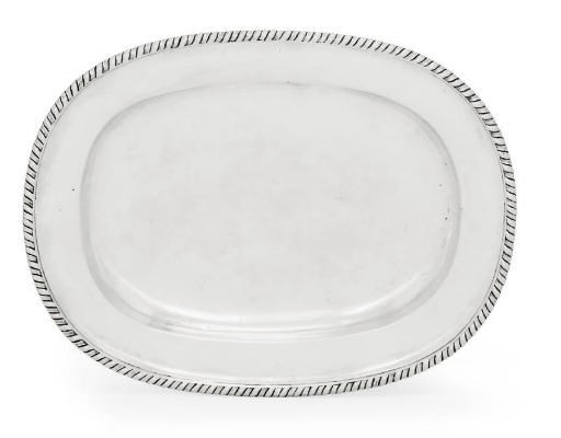 A PORTUGUESE SILVER OVAL MEAT