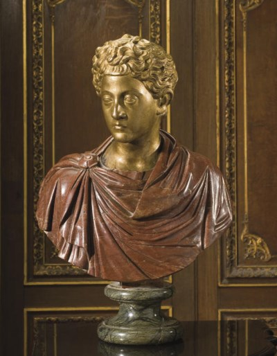 A GILT-BRONZE AND MARBLE BUST