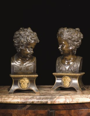 A PAIR OF BRONZE HERM BUSTS OF