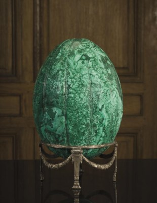 A RUSSIAN CARVED MALACHITE EGG