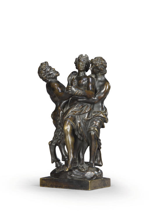 A BRONZE GROUP OF BACCHIC REVE