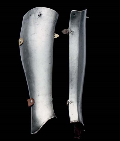 A PAIR OF FLEMISH HALF-GREAVES