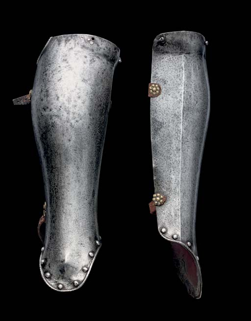 A PAIR OF ITALIAN HALF-GREAVES