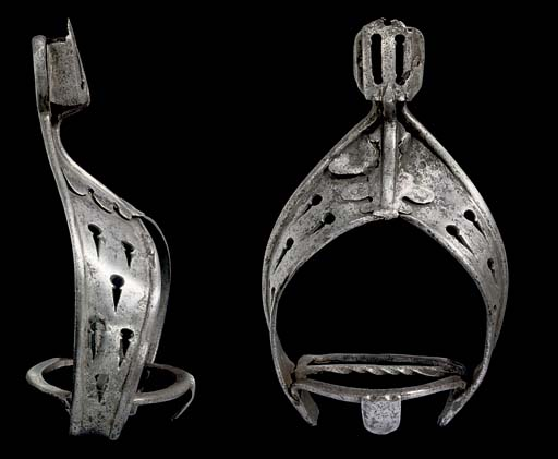 A PAIR OF SPANISH STIRRUPS, IN