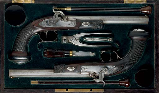 A FRENCH CASED PAIR OF PERCUSS