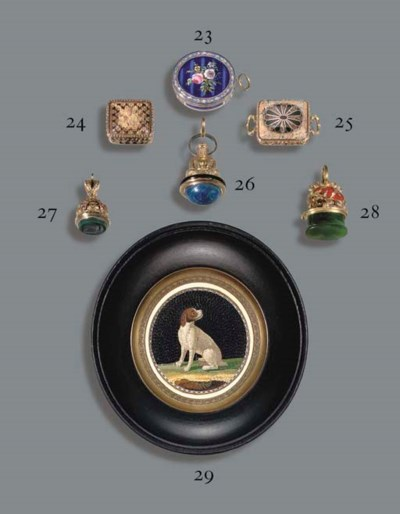 A VICTORIAN GOLD, HARDSTONE AN
